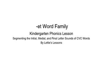Kindergarten Phonics Lesson: Segmenting onset and rime- et