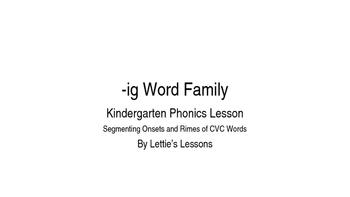 Kindergarten Phonics Lesson: Segmenting onset and rime- ig