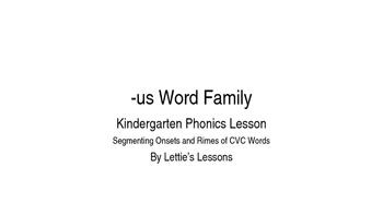 Kindergarten Phonics Lesson: Segmenting onset and rime- us