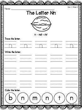 Kindergarten Phonics Printable Bundle Pack Units 1, 2, & 3