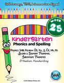 Kindergarten Phonics & Spelling D'Nealian Week 25 (Review Ŏ, X, J, Ĕ, H, K, -s)