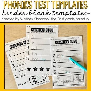Kindergarten Phonics Tests FREEBIE