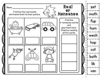 Kindergarten Phonics Printables: Unit 4