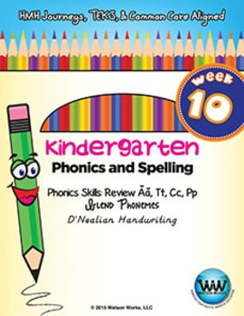 Kindergarten Phonics and Spelling D'Nealian Week 10 (Review Ă, T, C, P)