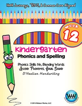 Kindergarten Phonics and Spelling D'Nealian Week 12 (N)