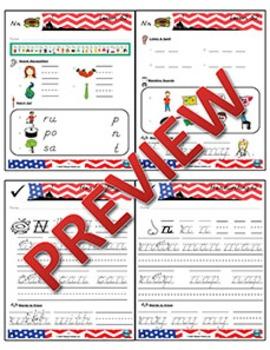 Kindergarten Phonics and Spelling D'Nealian Week 12 (N) {TEKS-aligned}