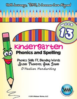 Kindergarten Phonics and Spelling D'Nealian Week 13 (F)