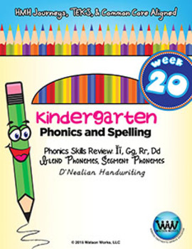 Kindergarten Phonics and Spelling D'Nealian Week 20 (Review Ĭ, G, R, D)