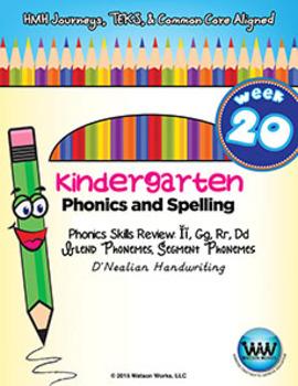Kindergarten Phonics and Spelling D'Nealian Week 20 (Revie