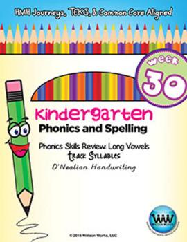 Kindergarten Phonics and Spelling D'Nealian Week 30 (Long Vowels Ā, Ē, Ī, Ō, Ū)