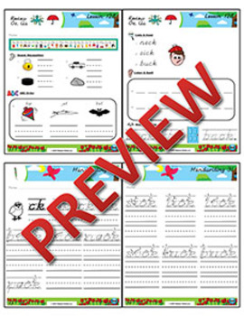 Kindergarten Phonics and Spelling D'Nealian Week 31 (ck, Review Short Vowels)