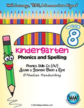 Kindergarten Phonics and Spelling D'Nealian Week 8 (C)