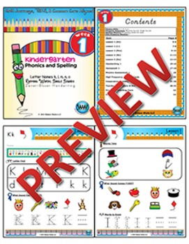 Kindergarten Phonics and Spelling Zaner-Bloser Week 1 (k, l, m, n, o)