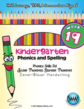 Kindergarten Phonics and Spelling Zaner-Bloser Week 19 (D) {TEKS-aligned}