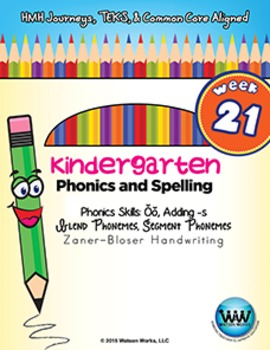 Kindergarten Phonics and Spelling Zaner-Bloser Week 21 (Short Ŏŏ, Adding -s)