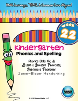 Kindergarten Phonics and Spelling Zaner-Bloser Week 22 (X, J) {TEKS-aligned}