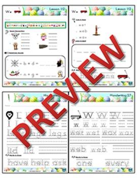 Kindergarten Phonics and Spelling Zaner-Bloser Week 27 (L, W)