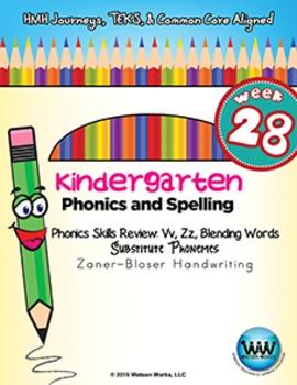 Kindergarten Phonics and Spelling Zaner-Bloser Week 28 (V, Z)