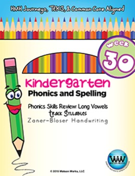 Kindergarten Phonics and Spelling Zaner-Bloser Week 30 (Long Ā, Ē, Ī, Ō, Ū)
