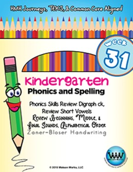 Kindergarten Phonics and Spelling Zaner-Bloser Week 31 (ck, Review Short Vowels)