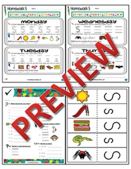 Kindergarten Phonics and Spelling Zaner-Bloser Week 5 (S) {TEKS-aligned}