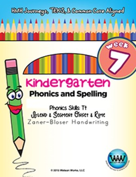 Kindergarten Phonics and Spelling Zaner-Bloser Week 7 (T) {TEKS-aligned}