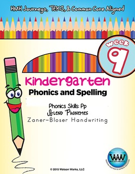 Kindergarten Phonics and Spelling Zaner-Bloser Week 9 (P) {TEKS-aligned}