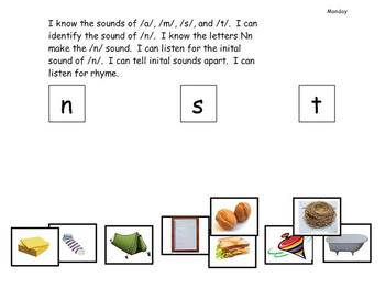 Kindergarten Phonics lesson Unit 4 letter n for the mimio