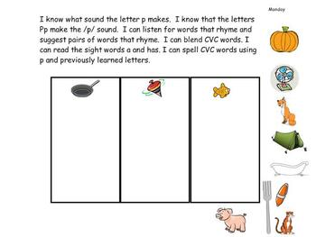 Kindergarten Phonics lesson Unit 7 letter p for the mimio