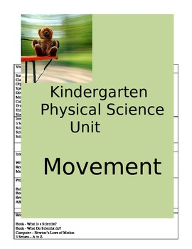 Kindergarten Physical Science Unit - Movement    **Aligned to Common Core
