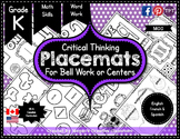 Kindergarten Placemats for Calendar, Bell Work, Centers