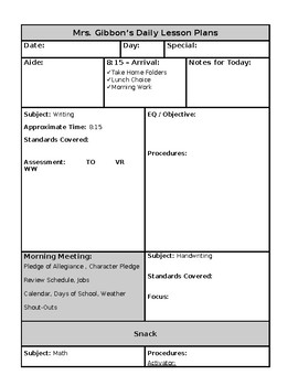 Kindergarten Plan Template