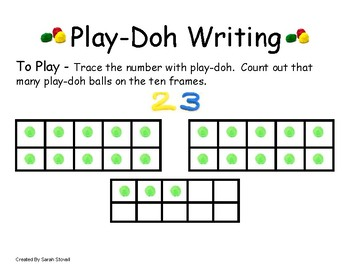 Kindergarten Play-Doh Writing to 30