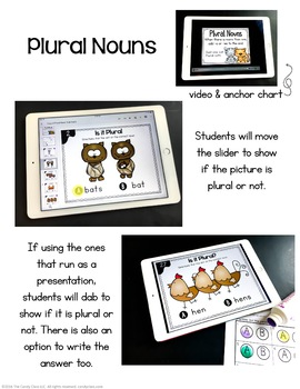 Plural Nouns Digital Task Cards - Paperless for Google Slides Use