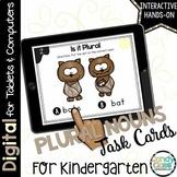 Plural Nouns Activity: Grammar Task Cards for Kindergarten Google Classroom Use