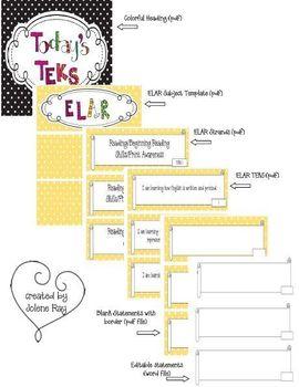 Kindergarten Polka Dot Themed ELAR TEKS Statement Posters