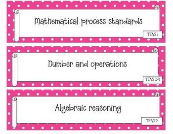 Kindergarten Polka Dot Themed Math TEKS Statement Posters