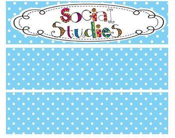 Kindergarten Polka Dot Themed Social Studies TEKS Statement Posters