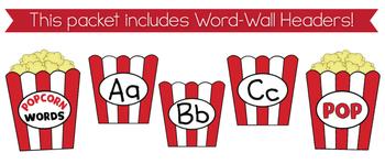 Kindergarten Popcorn Word-Wall Words {Editable!}
