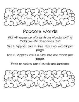 Kindergarten Popcorn Words-Wonders High-Frequency List