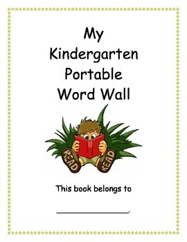 Kindergarten Portable Word Wall for Reading and Writing (Dolch Sight Word List)