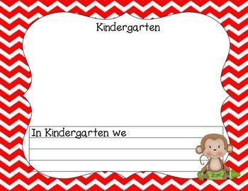 Kindergarten Portfolio-Monkeys With Red Chevron