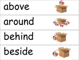 Kindergarten Positional Flashcards in English and Spanish
