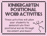 Kindergarten Positional Word Activities