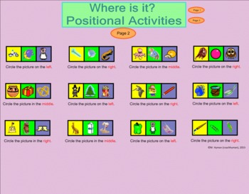 Kindergarten Positional and Location Smartboard Introduction and Activities