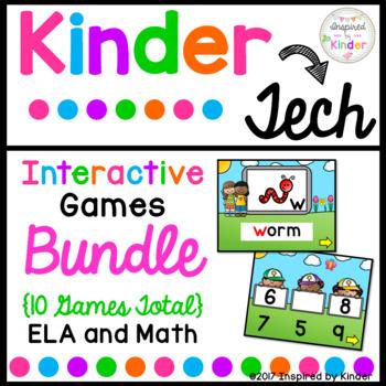 Kindergarten Interactive Games Bundle {Math and Language Arts}