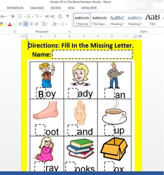 Practice Typing within Microsoft Word Document Fill In The Blanks Windows 8/8.1