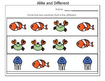Kindergarten Practice for Alike and Different Standard