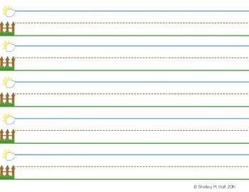 Kindergarten/ Pre-K Handwriting Paper Packet - Sky, Fence, Ground