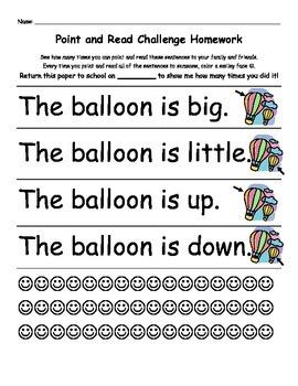 Kindergarten Pre-Primer Dolch Word Homework (11 Weeks)